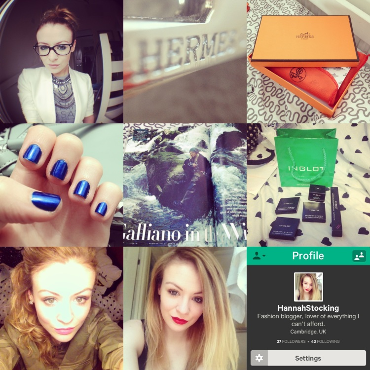 "[Top row] Testing my new fish-eye lens, Hermes hardware, My Hermes purchase. [middle row] My new favourite nail polis ""Aruba Blue"" by Essie, the AMAZING Galliano interview in Vanity Fair, my latest haul at Inglot [bottom row] selfie, selfie, I joined Vine!"