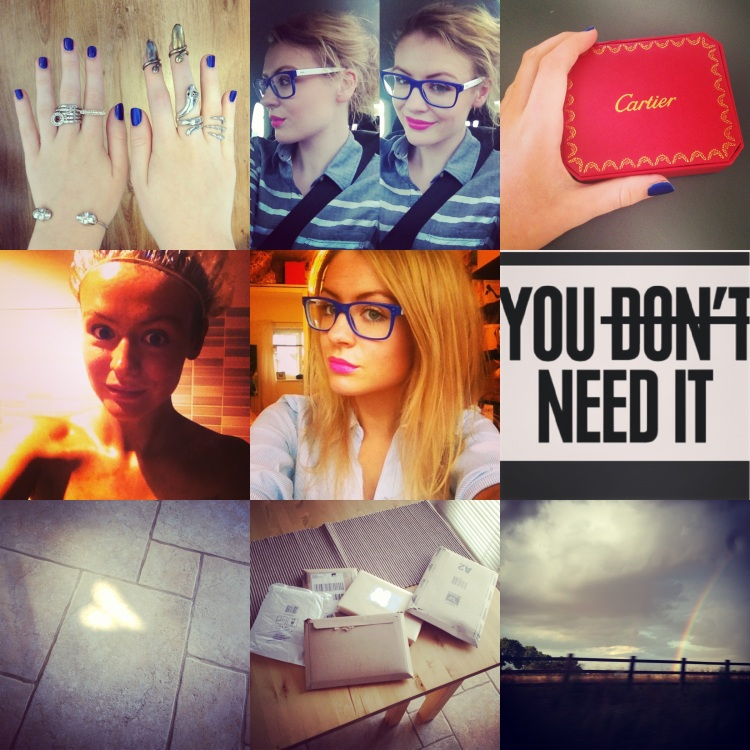 Top row: [left] An assortment of jewellery [middle] selfies in the car [right] my Cartier Love bracelet Middle row: [left] my spray tanning experience [middle] tanned selfie [right] my favourite quote of the week. Bottom row: [left] the cute heart shadow on the tiles [middle] one of many deliveries this week [right] the rainbow on the way home from work.