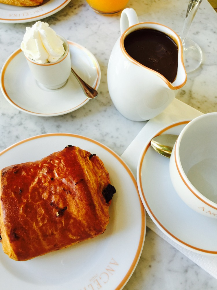 Pain au chocolat and the world famous hot chocolate at Angelina.